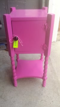 Pretty Pink Side Table with Cupboard AJAX