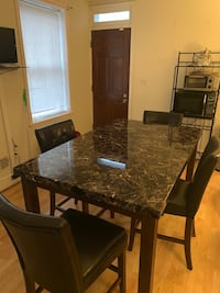 Rectangular brown marble top table with four chairs dining set Baltimore, 21223