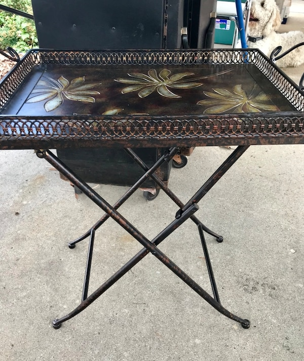 Pier One Side Tray Table Metal