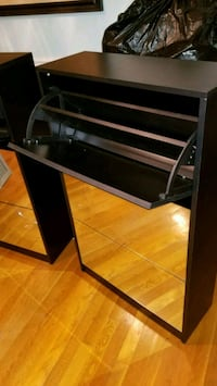 black and gray wooden desk