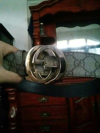 brown monogrammed Gucci leather belt with gold buc Springfield, 01109