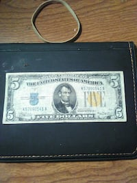 1934a series $5 north African silver certificate