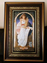woman in white dress painting with brown wooden frame Laval, H7W 2J2
