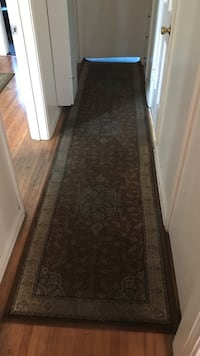 brown and gray floral runner rug