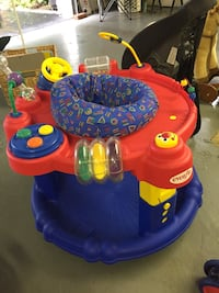 Baby's red and blue activity saucer eve flu