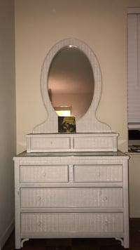 Henry Link White Wicker Glass Top Vanity Dresser with Oval Mirror  37 km