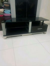 black wooden frame glass top TV stand Singapore, 821669