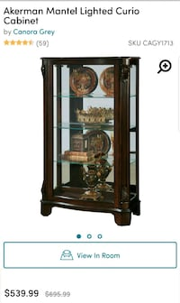 brown wooden framed glass display cabinet Chapel Hill, 37034