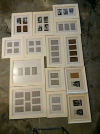 14 White Picture frames with 4x6 open mats Bowie