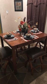 Rectangular brown wooden table with four chairs dining set 794 mi