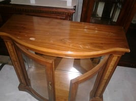 hall table with glass doors
