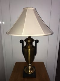 Brass white shade table lamp