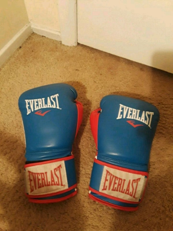pair of blue-and-red Everlast boxing gloves