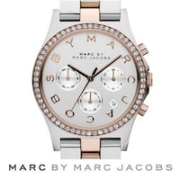 Marc Jacobs two tone rose gold henry chronograph glitz watch.
