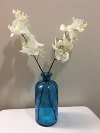 Blue turquoise glass vase with the two white orchids Fairfax, 22031
