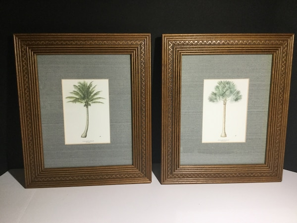 2 Framed Palm Tree Prints In Carved Wooden Frames