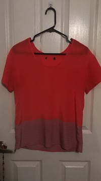 red scoop-neck shirt
