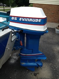 white and blue 85 Evinrude outboard motor Chatham-Kent, N0P 2M0