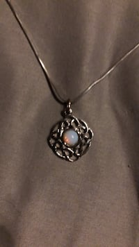 silver chain necklace with silver pendant Conifer, 80433