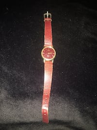 red leather strap gold bezel analog watch Meridian, 48823