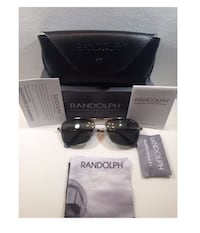 Randolph Aviator AF52414 Square Sunglasses Matte Black 55MM (BNIB)