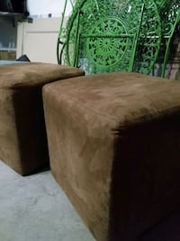 Two brown suede foot stools Calgary, T3E 6L5