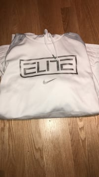 white and gray Nike Elite pullover hoodie