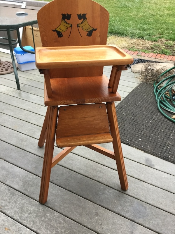 Antique wooden high chair. Doll chair. Super for antique dolls or - Used Scottie Dog. Antique Wooden High Chair. Doll Chair. Super For