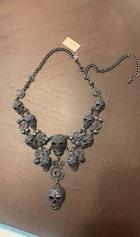 Skull black necklace with stones