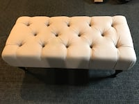 tufted white fabric ottoman bench Dumont, 07628
