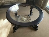 round black wooden framed glass top coffee table Laval, H7T 1K8