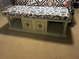 Vintage cushioned Bench with storage. Edmond