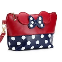 Minnie Mouse Blue And Red Makeup Bag, Cosmetics Case, Coin Purse, Little Girls Purse 1480 mi