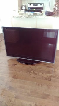 gray flat screen TV