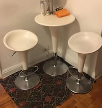 Really Nice White Italian Bombis Cafe Style Table And Chairs With Hydraulic Piston Lifts Eames Herman Miller design within reach dwr  220 mi