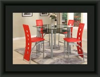 Red counter height table with 4 chairs Landover Hills, 20784