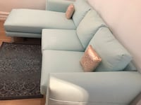 Beautiful L shaped blue couch/ sofa