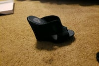 pair of black leather wedge sandals Oxon Hill, 20745
