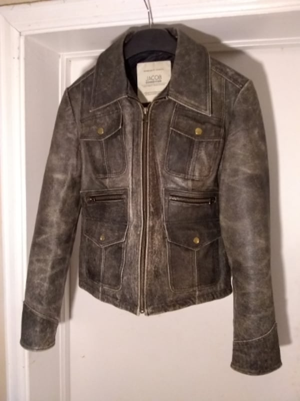 NEW Leather Distressed Motorcycle Jacket by Jacob 45894c6a-24cf-41e0-b7c7-2d0962d615f9