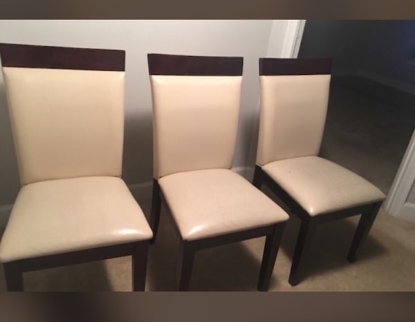 Set of three brown and beige chairs