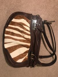 Good quality leather purse with animal print front