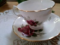 white and red ceramic teacup with saucer Menifee, 92584