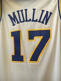 white and blue Mullin 17 printed NBA jersey