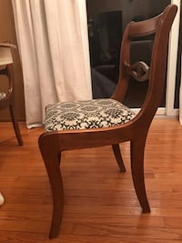 brown wooden framed white and brown floral padded chair Newark, 43055
