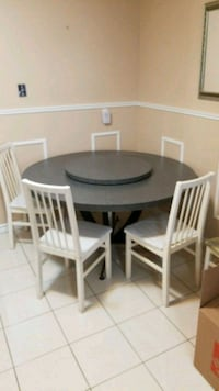 round white wooden table with four chairs dining set Richmond Hill