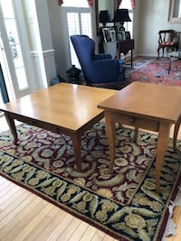 "Matching Lane coffee and side tables.  Beautiful all hardwood tables in great condition.  Coffee table measures 38""x38"" and 17"" tall. Side table measures 20""x25"" and 24"" tall.  Ellicott City, 21042"