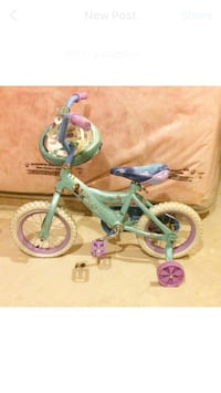 Toddler's teal and white bicycle with training wheels Milton, L9T 8B3