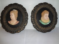 Vintage Chalkware Cameo Pair Wall Plaques Pottsville