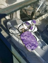 Purple Necklace earrings and ring Portage, 53901