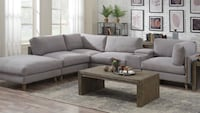 gray fabric sectional sofa with ottoman 2290 mi
